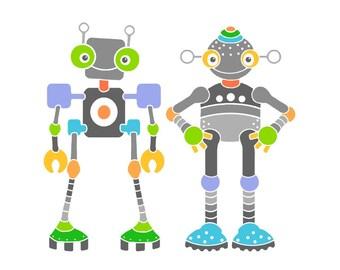 Robot art print, room decor robot illustration robot art for kids nursery print nursery wall art, baby room robot drawing nursery art