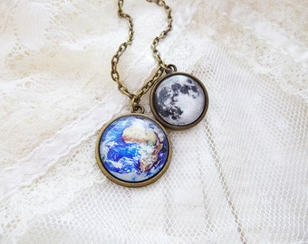 Earth and Moon Necklace, Earth and Moon, Solar System Necklace, Planet Necklace, Universe, Space Jewelry, Solar System, Astronomy, Science