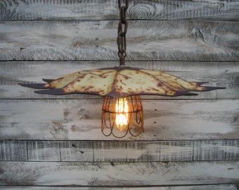 Vintage tiller plate pendant light
