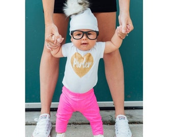 Personalized Gold Sparkle Name Bodysuit
