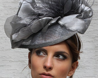 Silver Kentucky derby hat, Grey Royal ascot Fascinator hat, Wedding hat, Church hat, Couture Hat, Tea party hat, Melbourne cup headpiece