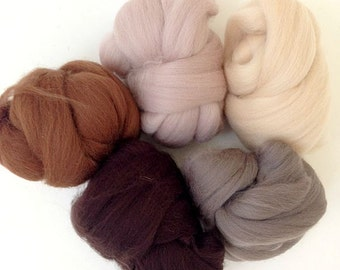 Naturals - 5 colours - Dyed Merino Wool Tops - 125g/4.5oz - Wet / Needle Felting, Roving, Spinning
