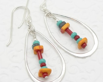 Sterling Silver Earrings in a Colorful Boho Style with Teardrop Shaped Hoops