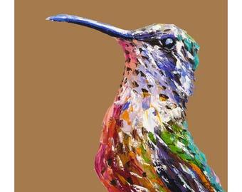 Hummingbird print, bird art print, colourful bird on biege, palette knife oil, fine art print, wall print, home decor