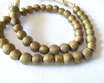 African Brass Beads, Round Baule Bead, Grooved 12mm Cast Brass, Tribal, Wide Opening, Trade Bead, Handmade Ghana, Bronze, 8 Pc