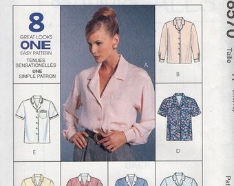 FREE US SHIP McCall's 8570 Classic Notch Neck Blouse Short Long Sleeve Pocket 1996 1990's Uncut Sewing Pattern Size 6-14 Bust 30-36 New