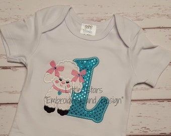 Sweet Poodle with Initial - Appliqued and Personalized