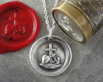 Faith Hope Love Wax Seal Necklace - antique wax seal jewelry Cross Anchor Heart symbols by RQP Studio