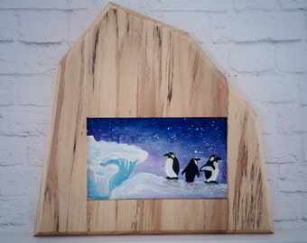 "Original Miniature Painting, ""Penguins' Dilemma"", Acrylic on Canvas, Custom Exotic Hardwood Frame"
