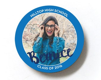 Color Edge graduation favor photo magnets, set of 12, 2.25 inches round