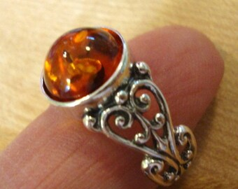 Prehistoric Baltic Amber in filigree sterling silver ring Made in USA by me - ethical 10mm natural amber Custom sized His/Hers Camelot ring
