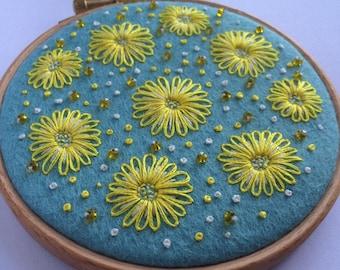 Yellow Lazy Daisy Hoop Art