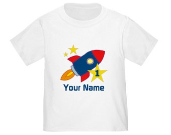 Kids Birthday Rocket Spaceship Personalized Birthday Shirt - ANY AGE