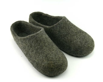Gray Slippers, Wool Felted Slippers