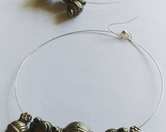 Silver charm Hoops