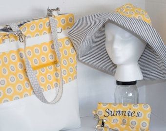 Hat, Tote, and Sun Glass Case Combo