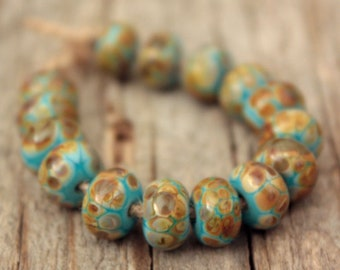 Turquoise Rondelles- A set of 15 handmade lampwork beads