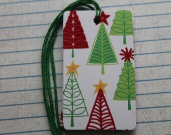 15 Christmas gift tags flocked trees patterned paper over chipboard tags