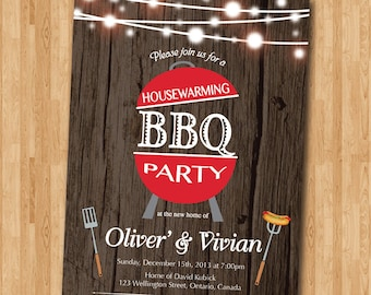 BBQ Housewarming Invitation. Rustic Wood. New house invite. Backyard Barbecue Housewarming Party. Chalkboard. Printable digital.