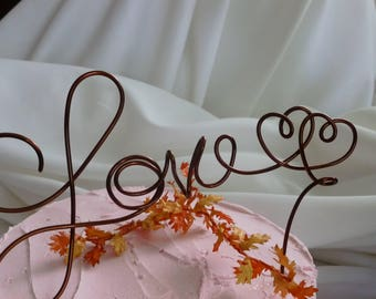 Love Wire Cake Topper With Optional Hearts