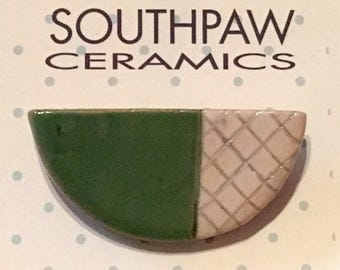 Semicircle ceramic brooch pin - grass green, white, black - windowpane check pattern - geometric handcrafted OOAK wearable art