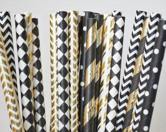 Gold and Black Party Straws, Gold & Black Straws, Bachelorette Party Decorations, Hollywood Party Decor, New Years Eve Decor, 25 Pcs