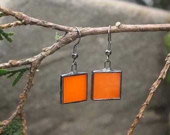 Orange earrings Gift for women valentines Square earrings glass Festival jewellery Modern earrings Gift under 15 Romantic gift Party jewelry