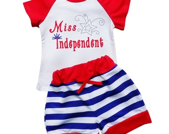 Miss Independent - 2 Piece Shorts & T-Shirt Top Set by So Sydney  Girls Toddler Novelty Patriotic Summer Ruffle Shorts Outfit 2T 3T 4T 5 6 7
