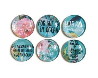 Mermaid Magnets + Tin / Fridge Magnets / Glass Magnets / Refrigerator Magnets / Quote Magnets / Ocean Magnets / Hostess Gift / Teacher Gift