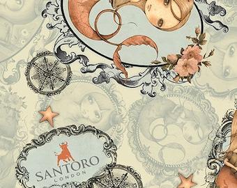 Santoro Adrift, Mirabelle Mermaid -  26440 - H Sage - Priced by the Half Yard