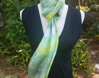 Green Silk Scarf or Headwrap