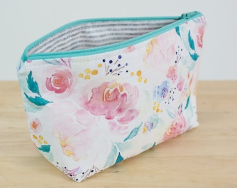 Floral zipper pouch. Makeup pouch. Watercolour print. Small cosmetic case. Gifts for her.  Floral pouch. Waterproof pouch. Pencil case.