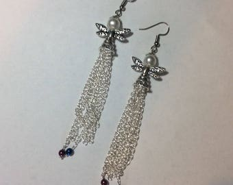 "Earrings ""Angel and her chained pearls"""