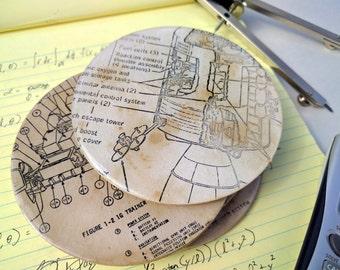 NASA Technical Diagram Coaster Set / aged / resin & cork / Apollo Gemini Soyuz themed / nerd home decor / aerospace historical space program