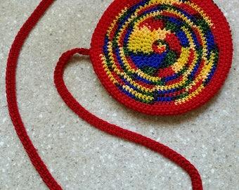 Gifts for Her Rainbow Purse Circle Bag Crochet Cross Body Bag Rainbow