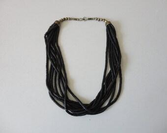 VINTAGE multi strand BLACK beaded NECKLACE