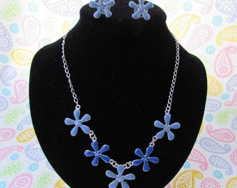 Blue Flower Necklace And Earring Set, Cable Link Chain, Enamel