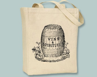Vins & Spiritueux French Wine Barrel Illustration Canvas Tote - Selection of sizes available, ANY IMAGE COLOR
