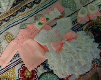 Crochet white and peach super ruffled romper set, comes with knitted sweater, crown and shoes.