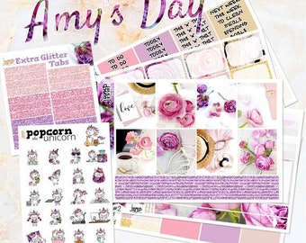 NewRELEASE Amy's Day pink floral set kit weekly stickers - Erin Condren HORIZONTAL Planner - flowers purple glitter roses