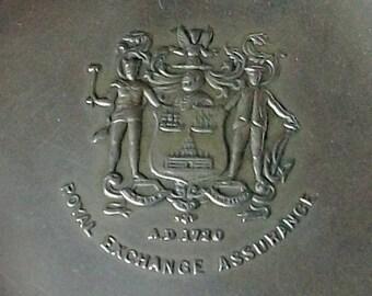Royal Exchange Paperweight, Metal Coaster, Small change dish
