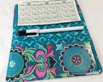 Duplicate Checkbook Cover with Pen Holder - Duplicate Checkbook Register - Fabric Checkbook Cover - Amy Butler Dream Weaver Mantra in Teal