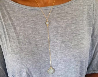 Y necklace- Moonstone lariat- Gold filled cable chain- Gemstone long necklace