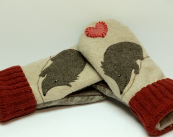 Recycled Hedgehog Mittens Felted Wool in Cream Brown and Red with Applique and Leather Palm Eco Friendly Upcycled  Size S/M