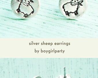Handmade sheep earrings / lamb jewelry, stud earrings, top selling items, best selling jewelry knitter gift knitting earrings boygirlparty