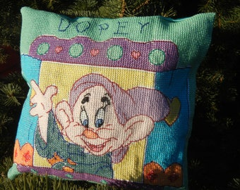 Dopey the Dwarf from Snow White - Handmade Finished Cross Stitch Pillow, 29x28cm, 110x110 stitches