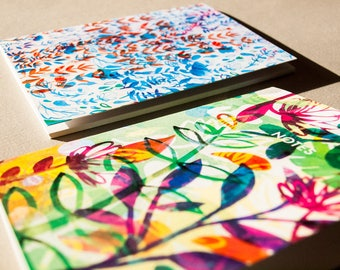 A6 Summer and Winter Flower Notebooks - Deal - Set of Notebooks - Gift - Present Idea - Stationery - Illustrated Paper Product