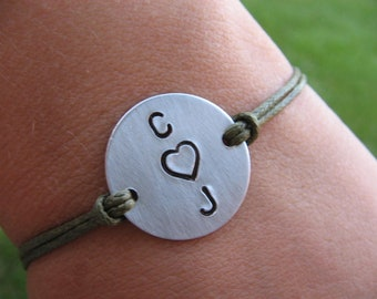 Couples bracelet - His and Her bracelet - Custom bracelet - Gift for Him - Gift for Her - Cord bracelet - Couples Gift