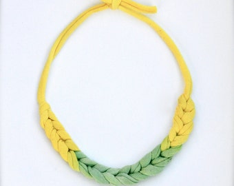 Daffodil Statement Necklace - Recycled Ombre Fabric Jewelry