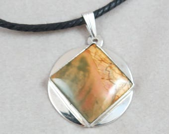 NA Narcotics Anonymous style Pendant in Sterling Silver with Square Picasso Jasper Stone with Cord
